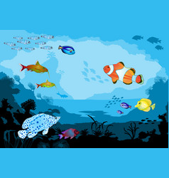 ocean underwater world with tropical animals vector image vector image