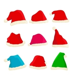 Set of bright Santa Claus hats on Christmas and vector image