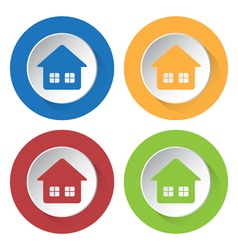 set of four icons - home with two windows vector image vector image