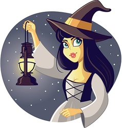 Beautiful Halloween Witch Holding Lantern vector image vector image