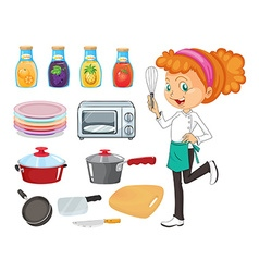Chef and kitchenware vector image
