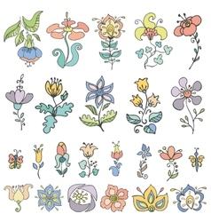 Doodles hand drawn stylized flowersbuds set vector image vector image