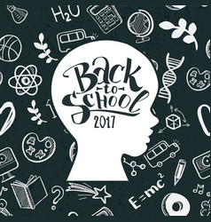 kids face back to school in doodle frame vector image vector image