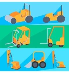 Set flet construction machinery Roller-stacker vector image