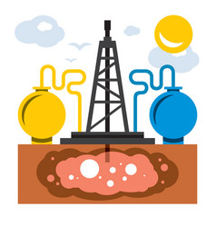 shale gas rig flat style colorful cartoon vector image