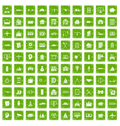 100 private property icons set grunge green vector image vector image