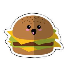 cartoon burger fast food vector image vector image