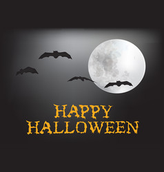 happy halloween card with moon and bats vector image