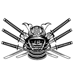 Samurai helmet menpo with yodare kake and crossed vector image