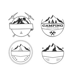 set of blank vintage summer camp badges and vector image