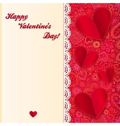 Valentines day lacy card with paper hearts vector image vector image