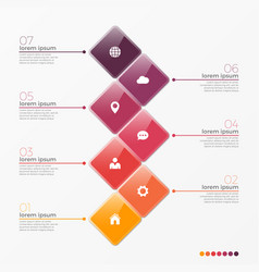 7 option infographic template with squares vector