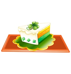 A slice of cake for the celebration of St Patricks vector image