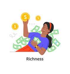 A young rich girl is bathed in money vector