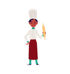 African american child boy cooks in a chef apron vector