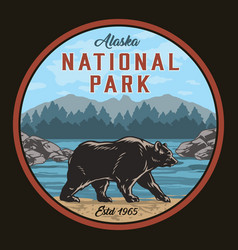 Alaska national park round colorful label vector