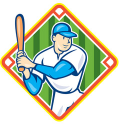 American Baseball Player Batting Diamond Cartoon vector