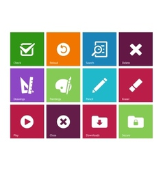 Application interface icons on color background vector image
