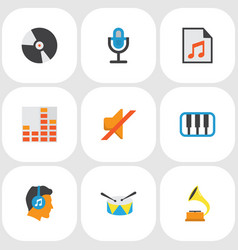 audio icons flat style set with synthesizer play vector image