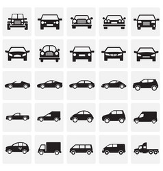 automobile icons set on squares background for vector image