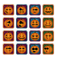 big set apps icon with halloween pumpkin vector image