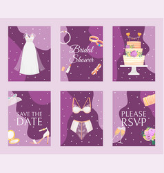 bridal shower set banners cards vector image