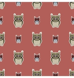 Brown sticker-like owls seamless pattern vector