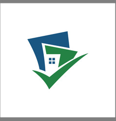 building with tick logo vector image