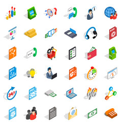 Business plan icons set isometric style vector