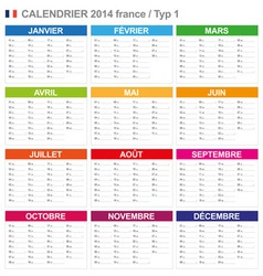Calendar 2014 French Type 1 vector image