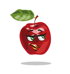 cartoon apple character with smart look vector image