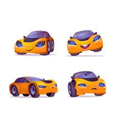 Cartoon car character express happy sad emotions vector