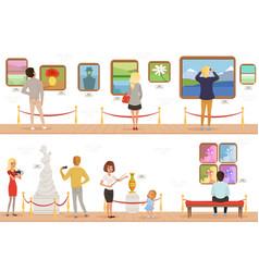 cartoon characters people visitors in art museum vector image