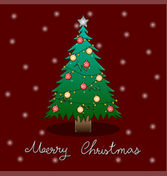 christmas tree and white snow greeting card on vector image