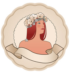 circular retro label with pretty girl decorated vector image