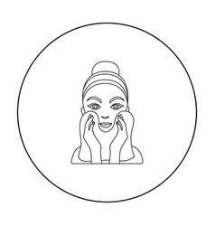 Cleaning of face skin icon in outline style vector