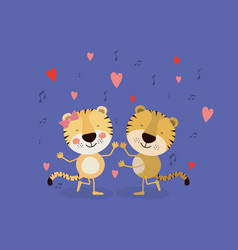 Color background with couple of tigers dancing in vector