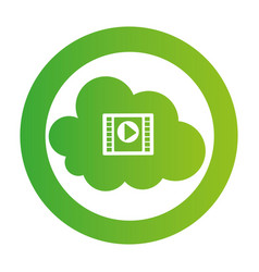 color circular emblem with video cloud service vector image
