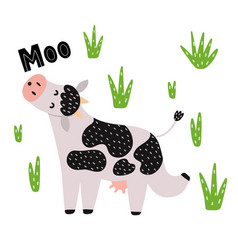 cute cow mooing isolated element on white vector image