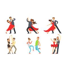dancing couples set professional dancers vector image