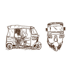 drawing tuk tuk vector image