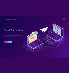 Email encryption isometric concept data security vector