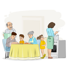 family preparing dinner vector image
