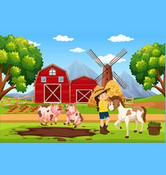 Farmer at farm landscape vector