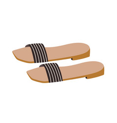 Fashion one-strapped slides or slippers with low vector