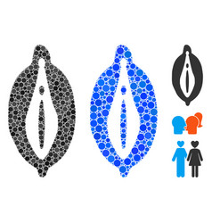 Female genitals mosaic icon circle dots vector