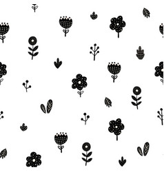 flowers seamless pattern in scandinavian style vector image