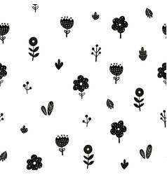 flowers seamless pattern in scandinavian style vector image