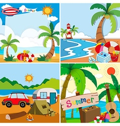 Four scenes of summer vacation on the beach vector
