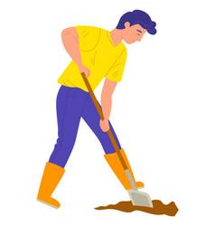 Gardener with shovel digging soil farm vector